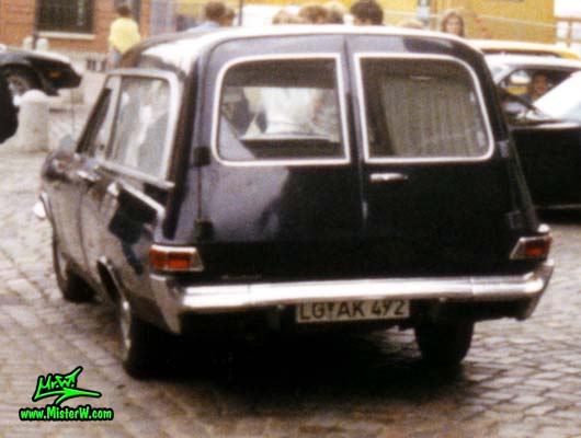 Photo of a black 1964ish?!? Opel Admiral?!? Leichenwagen (Hearse) at a classic car meeting on the St. Pauli Fischmarkt in Hamburg, Germany. Opel Hearse in Germany Rearview