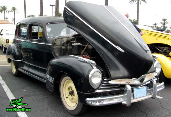 Photo of a black 1947 Hudson Super Six 4 Door Sedan at the Scottsdale Pavilions Classic Car Show in Arizona. 1947 Hudson Sedan