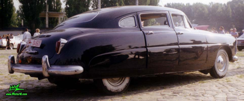 Photo of a black 1948 Hudson 4 Door Sedan at a classic car meeting in Germany. 1948 Hudson Sedan Rearview