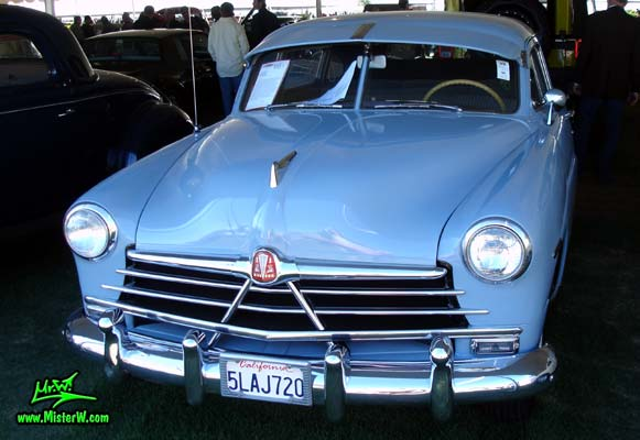Photo of a blue 1950 Hudson Pacemaker 4 Door Sedan at a classic car auction in Scottsdale, Arizona. 1950 Hudson