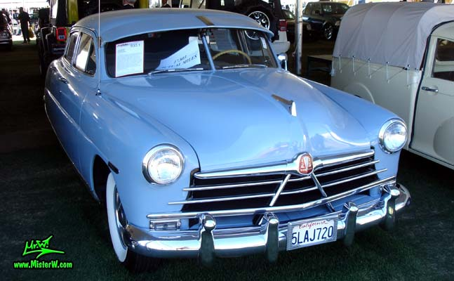 Photo of a blue 1950 Hudson Pacemaker 4 Door Sedan at a classic car auction in Scottsdale, Arizona. 1950 Hudson Pacemaker Frontview