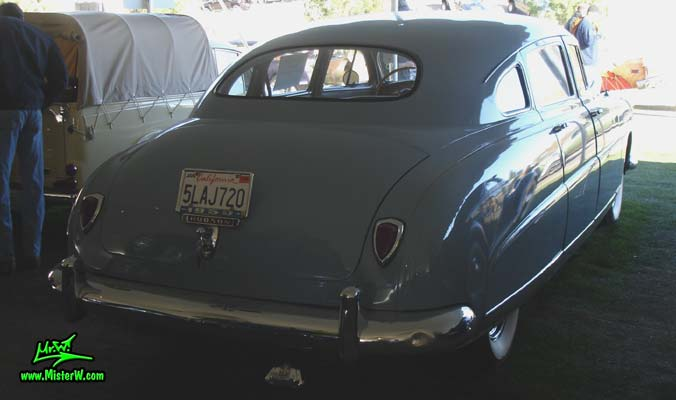 Photo of a blue 1950 Hudson Pacemaker 4 Door Sedan at a classic car auction in Scottsdale, Arizona. 1950 Hudson Sedan Rearview