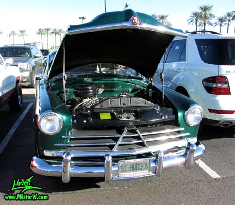 Photo of a green 1950 Hudson Super 6 Hardtop Coupe at the Scottsdale Pavilions Classic Car Show in Arizona. 50 Hudson Super Six Coupe