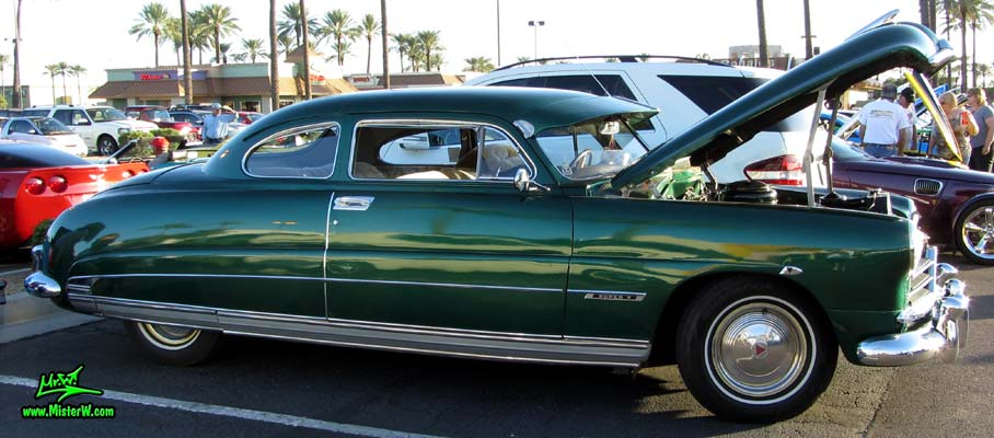 Photo of a green 1950 Hudson Super 6 Hardtop Coupe at the Scottsdale Pavilions Classic Car Show in Arizona. 50 Hudson 2 Door