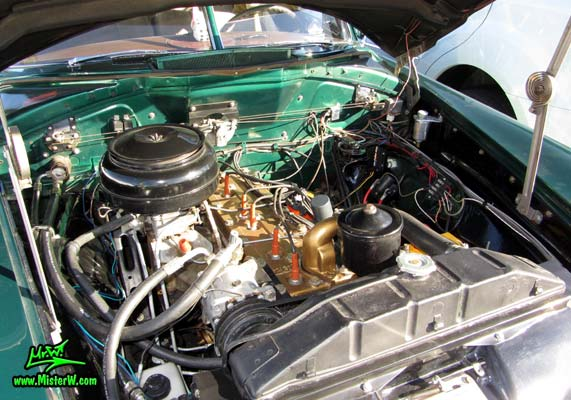 Photo of a green 1950 Hudson Super 6 Hardtop Coupe at the Scottsdale Pavilions Classic Car Show in Arizona. 1950 Hudson Engine Bay