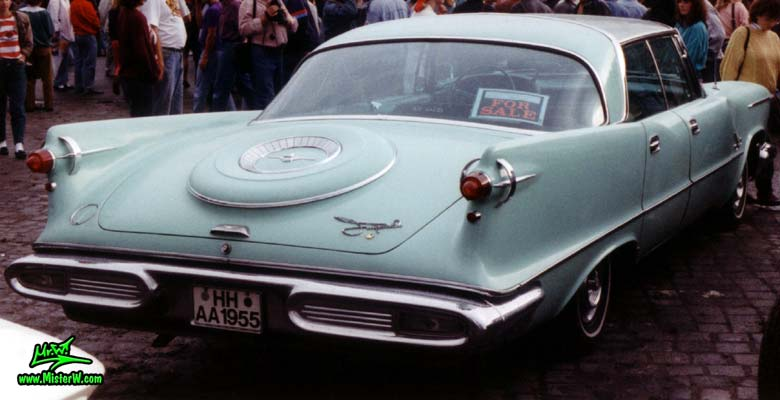 Photo of a turquoise 1958 Imperial 4 Door Hardtop Sedan at the Wheels Nationals classic car meeting in Hamburg, Germany. 1958 Imperial Tailfins