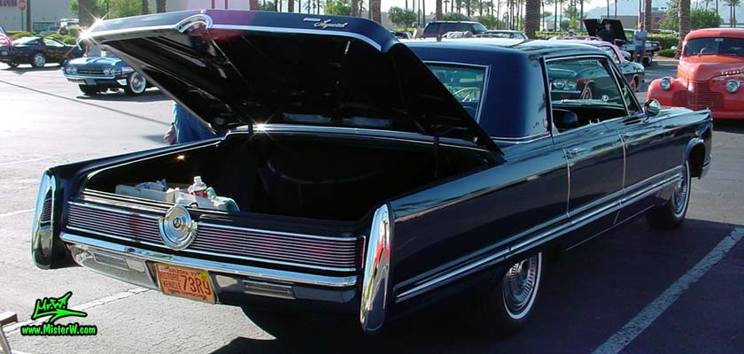 Photo of a blue 1967 Imperial 4 Door Hardtop Sedan at the Scottsdale Pavilions Classic Car Show in Arizona. 1967 Imperial Trunk
