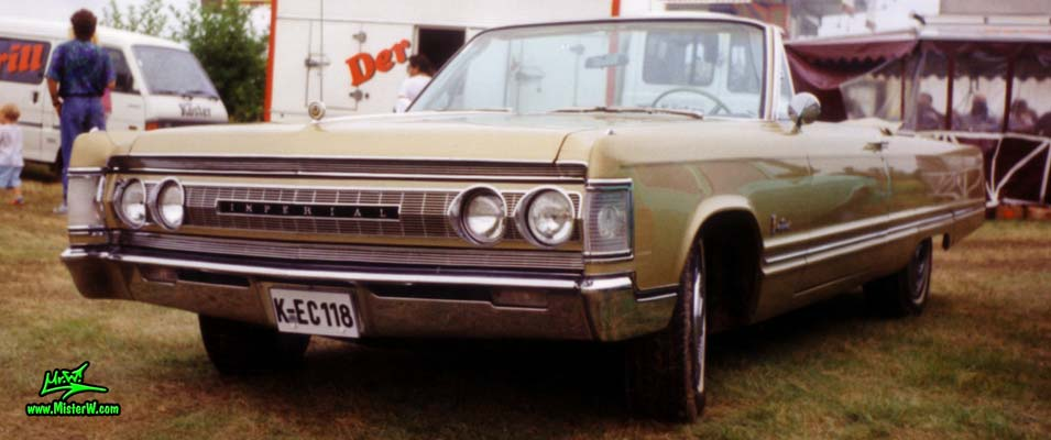 Photo of a brown 1967 Imperial 2 Door Convertible at a classic car meeting in Germany. 1967 Imperial Convertible Frontview