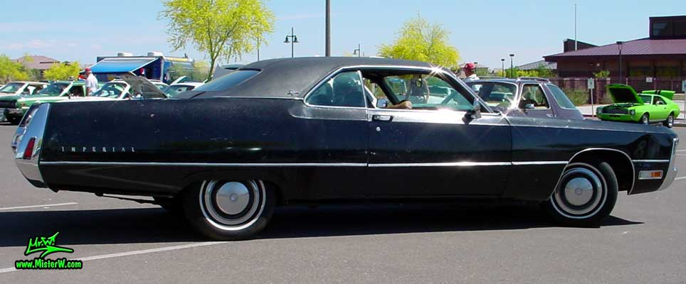 Photo of a black 1971 Imperial 2 Door Hardtop Coupe at a Classic Car Meeting in Phoenix, Arizona. 1971 Imperial Coupe Fuselage Style