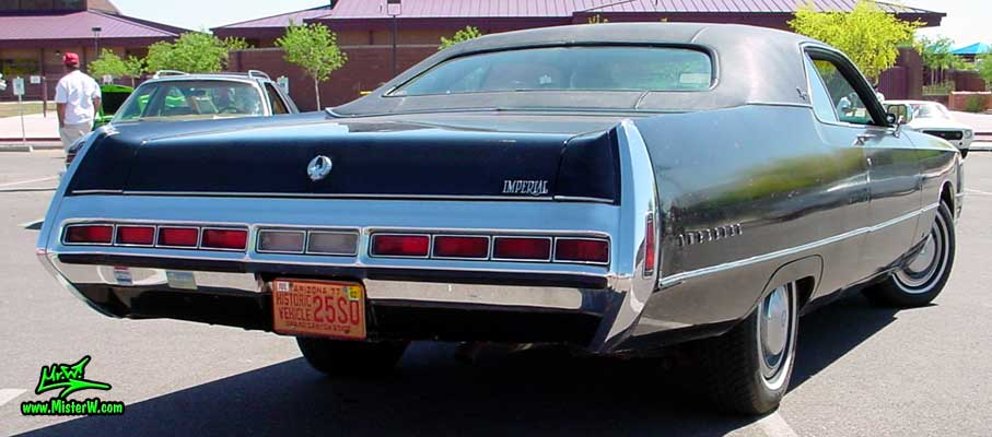 Photo of a black 1971 Imperial 2 Door Hardtop Coupe at a Classic Car Meeting in Phoenix, Arizona. 1971 Imperial Coupe Rearview
