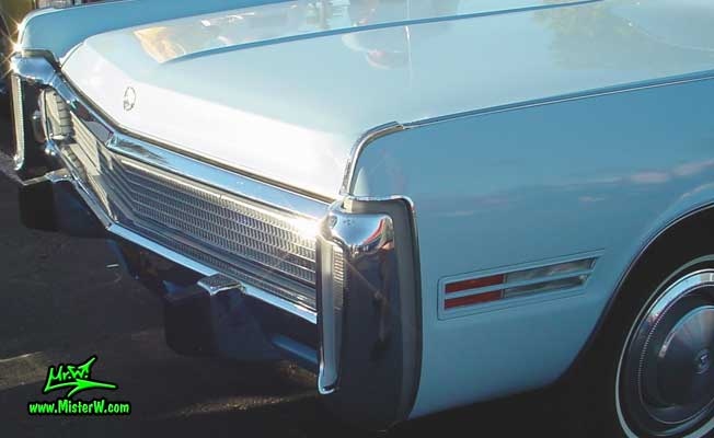 Photo of a blue 1973 Imperial 4 Door Hardtop Sedan at the Scottsdale Pavilions Classic Car Show in Arizona. 1973 Imperial Cornering Lights