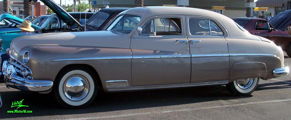 Photo of a tan 1949 Lincoln 9EL Series 4 door Sport Sedan with suicide doors at the Scottsdale Pavilions Classic Car Show in Arizona. 1949 Lincoln EL-Series