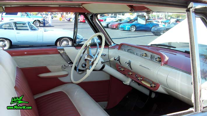 Photo of a white 1955 Lincoln Capri 2 door hardtop coupe at the Scottsdale Pavilions Classic Car Show in Arizona. Interior, dashboard & gauges of a 1955 Lincoln Capri hardtop coupe
