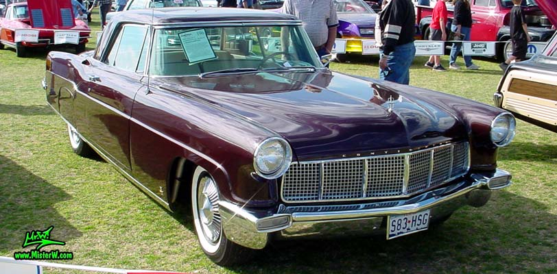 Photo of a purple 1956 Lincoln Continental Mark II 2 door hardtop coupe at a Classic Car Auction in Scottsdale, Arizona. 56 Lincoln Continental Mark II