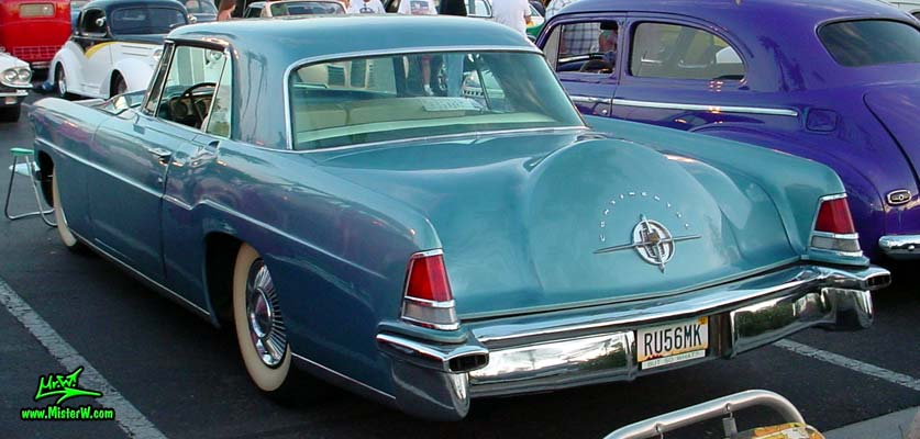 Photo of a blue metallic 1956 Lincoln Continental Mark 2 hardtop coupe at the Scottsdale Pavilions Classic Car Show in Arizona. 56 Lincoln Continental Mark 2 Tail Fins