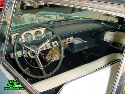 Photo of a blue metallic 1956 Lincoln Continental Mark 2 hardtop coupe at the Scottsdale Pavilions Classic Car Show in Arizona. 1956 Lincoln Continental Mark 2 Interior & Dashboard