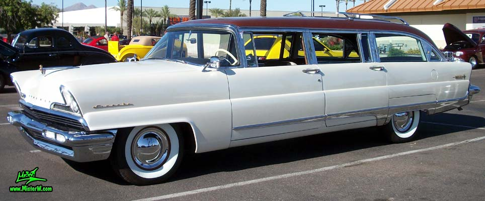Photo of Phil Schaefer's Custom Built 1956 Lincoln Pioneere Station Wagon at the Scottsdale Pavilions Classic Car Show in Arizona. 56 Lincoln Stationwagon