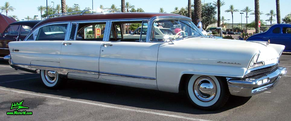 Photo of Phil Schaefer's Custom Built 1956 Lincoln Pioneere Station Wagon at the Scottsdale Pavilions Classic Car Show in Arizona. Custom-built 56 Lincoln Wagon