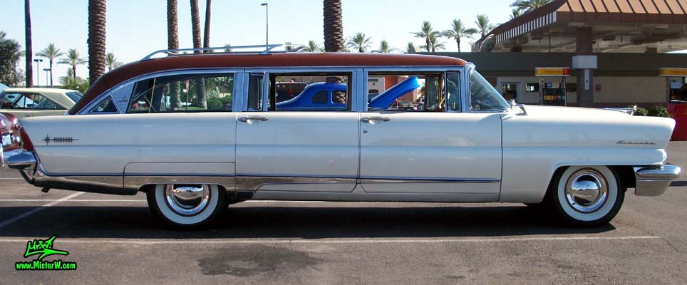 Photo of Phil Schaefer's Custom Built 1956 Lincoln Pioneere Station Wagon at the Scottsdale Pavilions Classic Car Show in Arizona. Sideview of the 1956 Lincoln Pioneere Station Wagon
