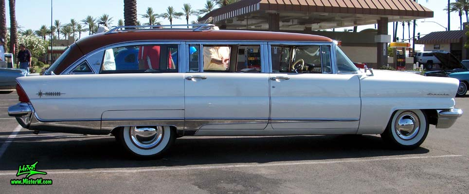 Photo of Phil Schaefer's Custom Built 1956 Lincoln Pioneere Station Wagon at the Scottsdale Pavilions Classic Car Show in Arizona. 56 Lincoln Station Wagon Passenger's Side