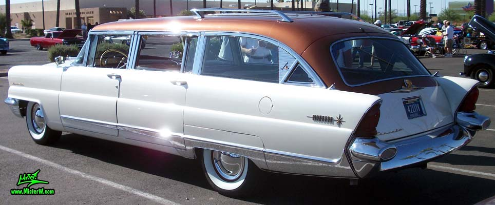 Photo of Phil Schaefer's Custom Built 1956 Lincoln Pioneere Station Wagon at the Scottsdale Pavilions Classic Car Show in Arizona. 1956 Lincoln Pioneere Station Wagon from the side