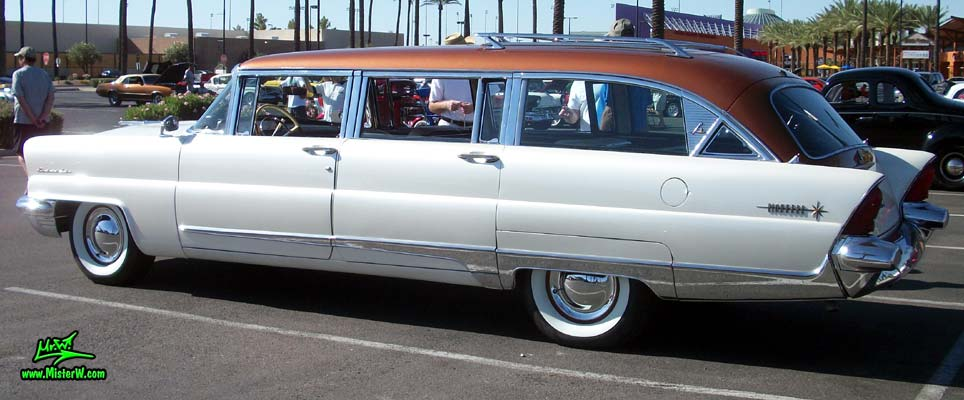 Photo of Phil Schaefer's Custom Built 1956 Lincoln Pioneere Station Wagon at the Scottsdale Pavilions Classic Car Show in Arizona. Side of the Custom 56 Lincoln Wagon