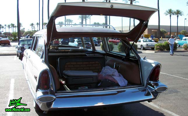 Photo of Phil Schaefer's Custom Built 1956 Lincoln Pioneere Station Wagon at the Scottsdale Pavilions Classic Car Show in Arizona. Back of the 1956 Lincoln Pioneere Station Wagon with open tailgate