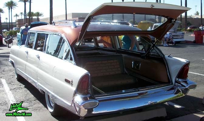 Photo of Phil Schaefer's Custom Built 1956 Lincoln Pioneere Station Wagon at the Scottsdale Pavilions Classic Car Show in Arizona. 1956 Lincoln Pioneere Station Wagon with open backdoor