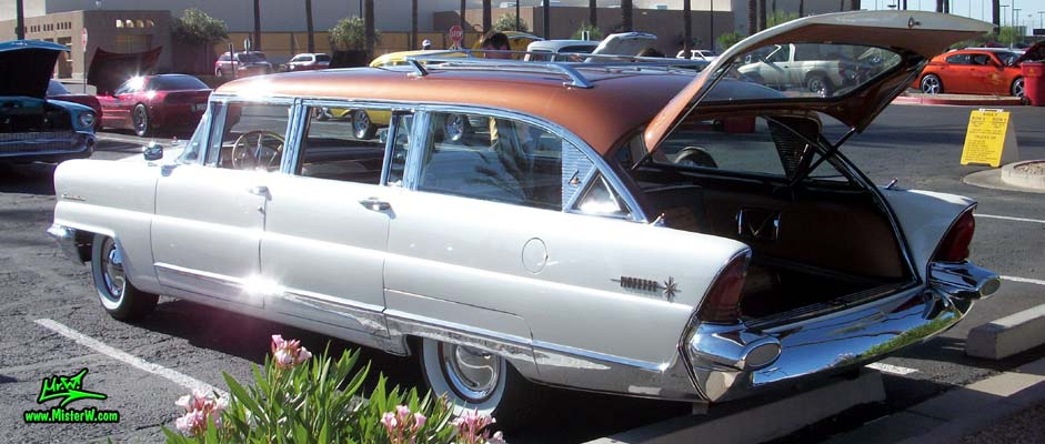 Photo of Phil Schaefer's Custom Built 1956 Lincoln Pioneere Station Wagon at the Scottsdale Pavilions Classic Car Show in Arizona. 56 Lincoln Stationwagon with open Tail Gate