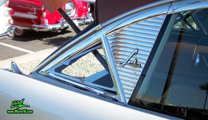 Photo of Phil Schaefer's Custom Built 1956 Lincoln Pioneere Station Wagon at the Scottsdale Pavilions Classic Car Show in Arizona. 1956 Lincoln Pioneere Station Wagon Rear Vent Glass