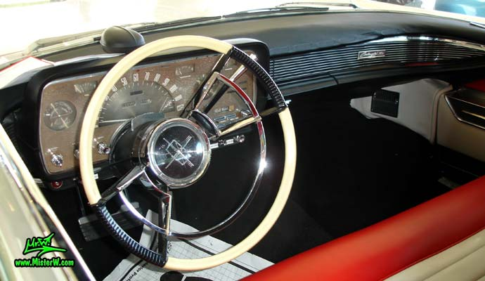 Photo of a white 1959 Lincoln Continental Mark IV convertible at a Classic Car Auction in Scottsdale, Arizona. Interior, dashboard & speedometer of a 1959 Lincoln Continental Mark IV Convertible