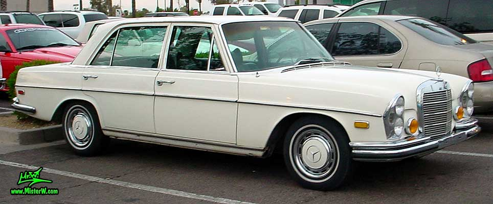 Photo of a white Mercedes Benz W108 W109 4 Door Hardtop Sedan at the Scottsdale Pavilions classic car show in Arizona. Mercedes Benz Sedan
