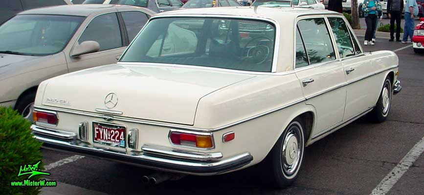 Photo of a white Mercedes Benz W108 W109 4 Door Hardtop Sedan at the Scottsdale Pavilions classic car show in Arizona. Mercedes-Benz