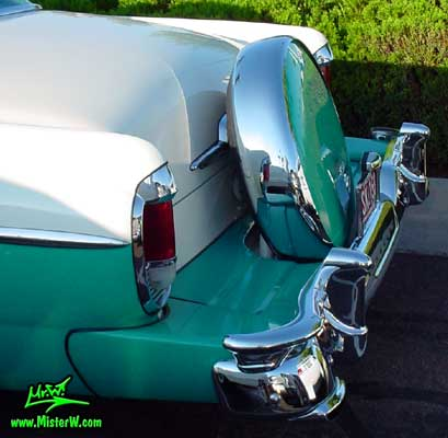 Photo of a white & turkquoise 1956 Mercury Monterey 4 Door Hardtop Sedan at the Scottsdale Pavilions Classic Car Show in Arizona. 1956 Mercury Continental Kit & Rear Bumper