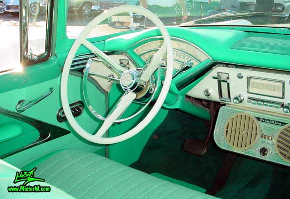 Photo of a white & turkquoise 1956 Mercury Monterey 4 Door Hardtop Sedan at the Scottsdale Pavilions Classic Car Show in Arizona. 1956 Mercury Dashboard