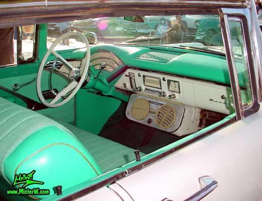 Photo of a white & turkquoise 1956 Mercury Monterey 4 Door Hardtop Sedan at the Scottsdale Pavilions Classic Car Show in Arizona. 1956 Mercury Interior & Dash Board