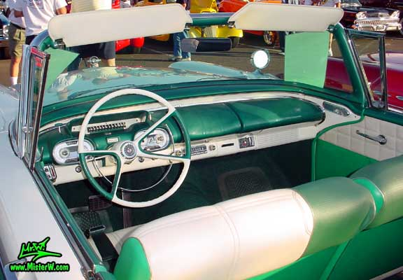 Photo of a white & turkquoise 1957 Mercury Monterey 2 Door Convertible at the Scottsdale Pavilions Classic Car Show in Arizona. 1957 Mercury Dashboard