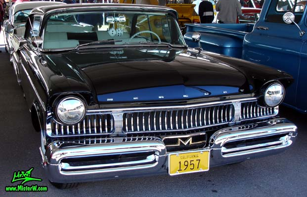 Photo of a black 1957 Mercury 2 Door Hardtop Coupe at a classic car auction in Scottsdale, Arizona. Massive Chrome Bumper of a 57 Mercury Hardtop Coupe