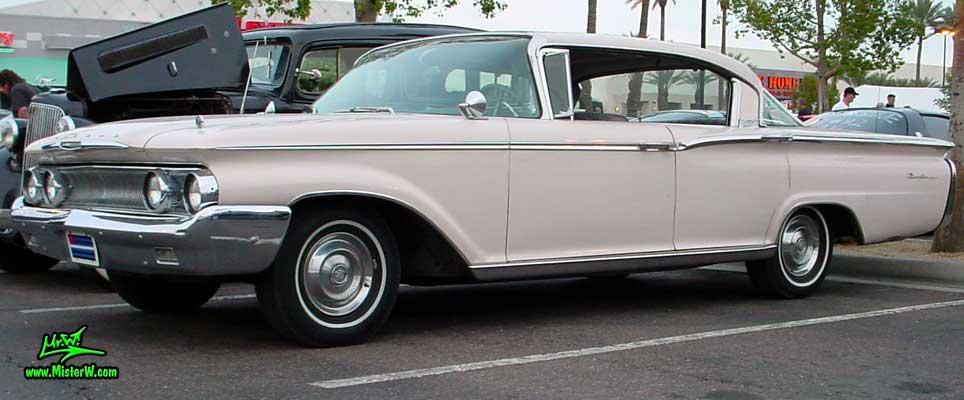 Photo of a white 1960 Mercury Monterey 4 Door Hardtop Sedan at the Scottsdale Pavilions Classic Car Show in Arizona. 1960 Mercury Monterey Sedan