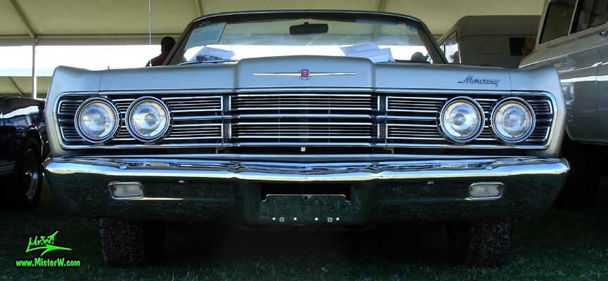 Photo of a silver 1967 Mercury 2 Door Convertible at a Classic Car Auction in Scottsdale, Arizona. 1967 Mercury Convertible Frontview