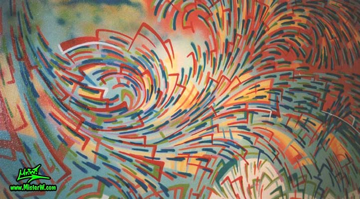 Photo of a abstract mural painting in the music store Heaton Records in Kassel, Germany, painted by artist & muralist Werner Skolimowski in 1993. Ionenstrudel - Abstract Mural Painting by Werner Skolimowski in Kassel, Germany
