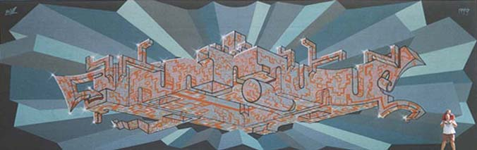 Huge Abstract Wall Mural by Werner Skolimowski in Phoenix, Arizona, 1999