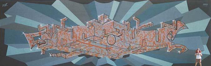 Huge Abstract Wall Mural by Werner Skolimowski in Phoenix, Arizona, 1999
