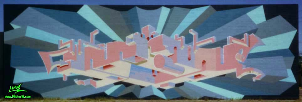 Photo of a almost finnished mural painting by artist & muralist Werner Skolimowski in Phoenix, Arizona in 1999. Abstract Mural Art by Werner Skolimowski Almost Finnished