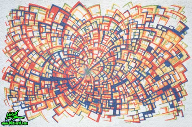 Photo of an abstract mural at the Hoffmann von Fallersleben Gymnasium in Weimar, Germany by artist & muralist Werner Skolimowski in 1992. Raumstruktur - Mural Art Painting in Weimar, Germany