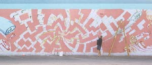 Werner Skolimowski paining a Large Abstract Mural in Phoenix, Arizona, April 1998