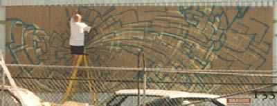 Werner Skolimowski paining a Big Mural in Sunnyslope, Arizona, April 1997