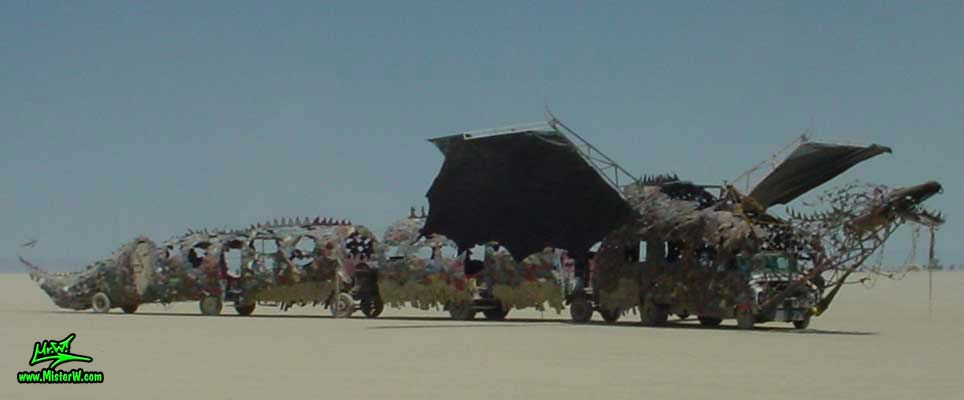 Photo of Draka the Dragon Mutant Vehicle / Art Car by Lisa Nigro in Black Rock City, Nevada, 2002. Draka The Dragon
