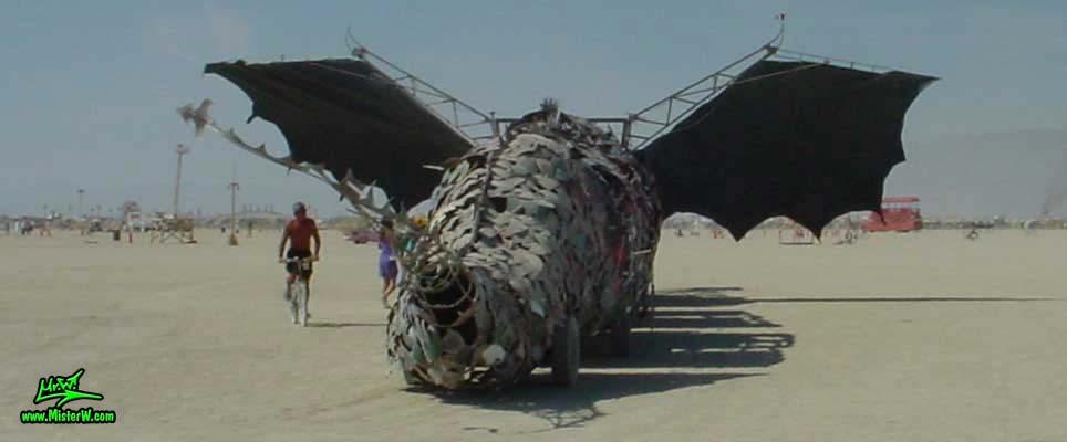 Photo of Draka the Dragon Mutant Vehicle / Art Car by Lisa Nigro in Black Rock City, Nevada, 2002. Draka Rearview