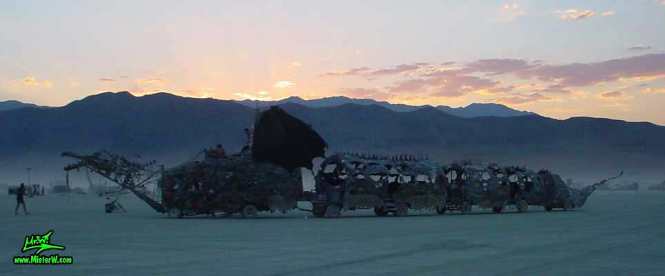 Photo of Draka the Dragon Mutant Vehicle / Art Car by Lisa Nigro in Black Rock City, Nevada, 2002. Draka The Dragon At Sunset